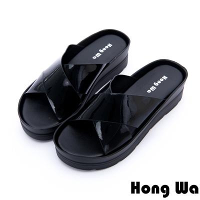 Hong Wa-甜美閃亮鏡面交叉風拖鞋-黑