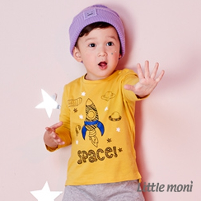 Little moni 宇宙火箭印圖上衣 (共2色)