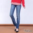 Victoria 銀河V字鑽窄直筒褲-女-淺藍