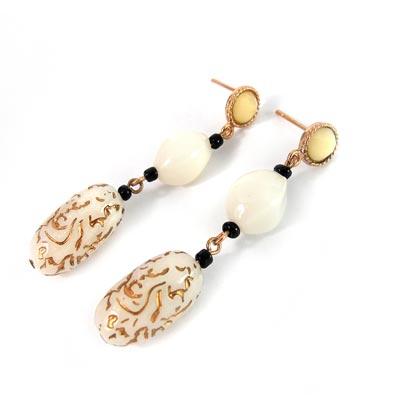 KOURIN 古典系列-白色古典圖騰耳環