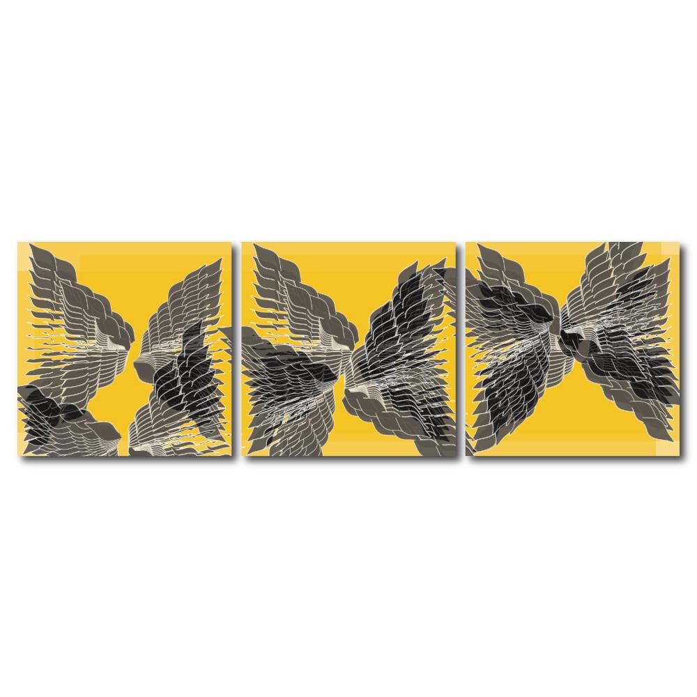 123點點貼- 三聯式無痕創意壁貼 -花是無邊30*30cm