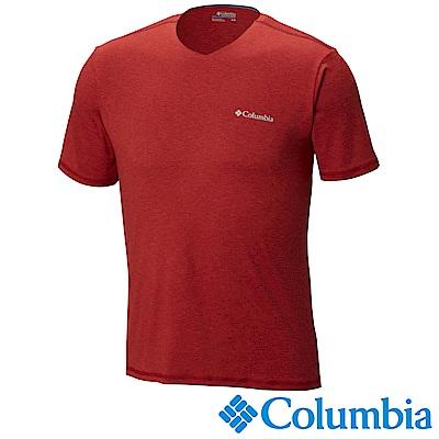 Columbia哥倫比亞 男-防曬50快排短袖上衣-紅色 UAE00680RD