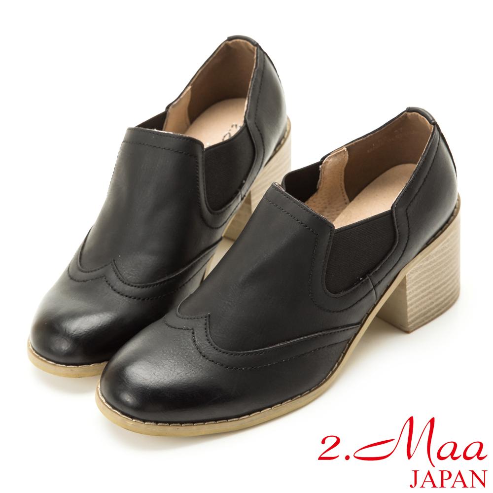 2.Maa 英倫復古擦色木質粗跟鞋-黑