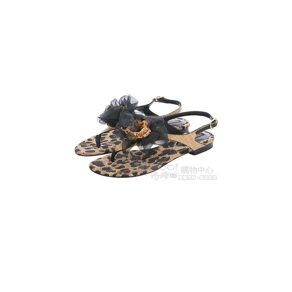 DOLCE & GABBANA 豹紋圖騰編織花飾夾腳涼鞋