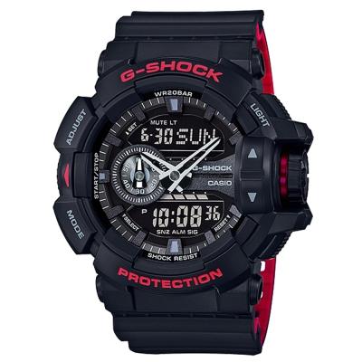 G-SHOCK街頭潮流紅黑騎士精神雙顯運動錶(GA-400HR-1)紅黑雙色51.9mm