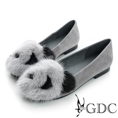 GDC百搭-熊貓造型絨布面真皮平底娃娃鞋-槍灰色