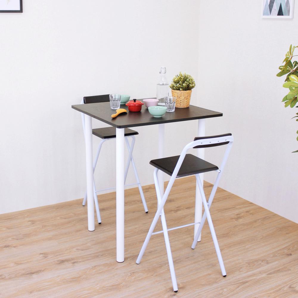 頂堅 方形高腳桌椅組/吧台桌椅組/洽談桌椅組-高98/公分-二色