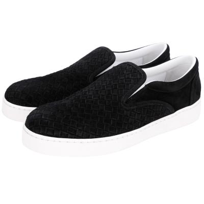 BOTTEGA VENETA Intrecciato 麂皮編織休閒鞋(黑色)