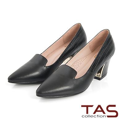 TAS 鱷魚壓紋牛皮拼接金屬樂福高跟鞋-優雅黑