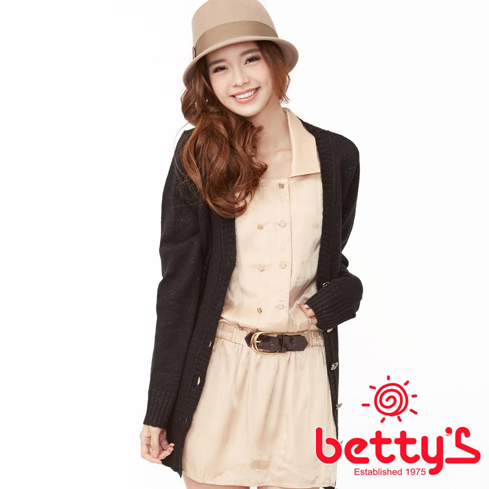 betty's貝蒂思 華美展演方釦造型皮帶七分袖雪紡洋裝 (香檳金)