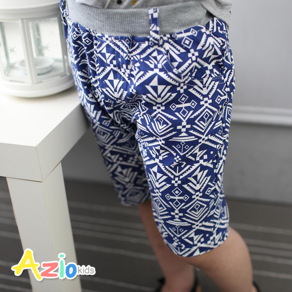 Azio Kids-滿版圖騰口袋棉質鬆緊短褲(藍)