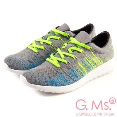 G.Ms. MIT極輕量系列-彩線綿織綁帶記憶鞋墊休閒鞋-淺灰