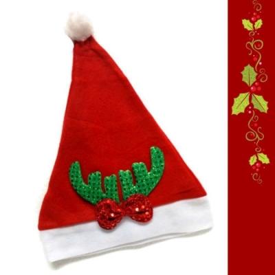 耶誕派對-小綠亮片鹿角蝴蝶結聖誕帽