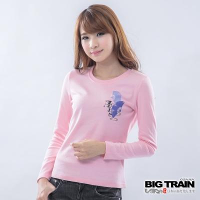 BIG TRAIN-女款 金魚花扇墨達人TEE-粉紅