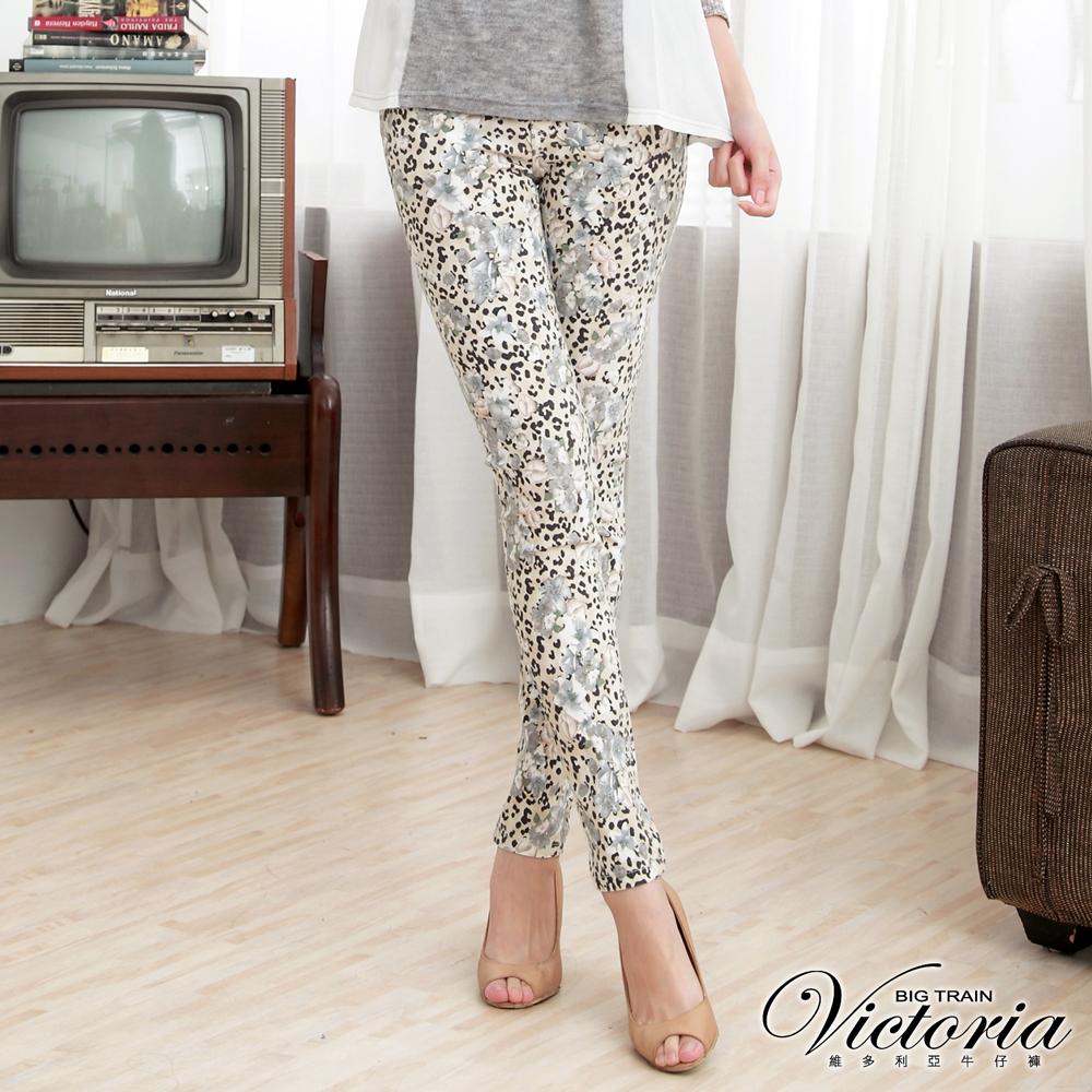 Victoria 低腰印花窄直筒褲-女-淺黃