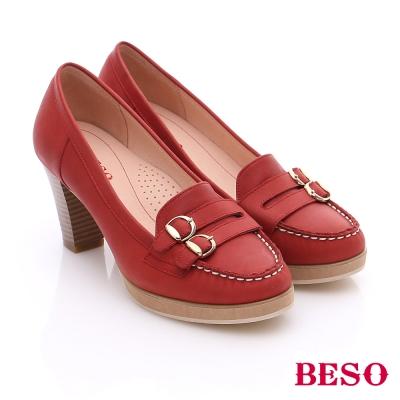 BESO 簡約知性 素面真皮雙飾扣粗跟鞋 紅色