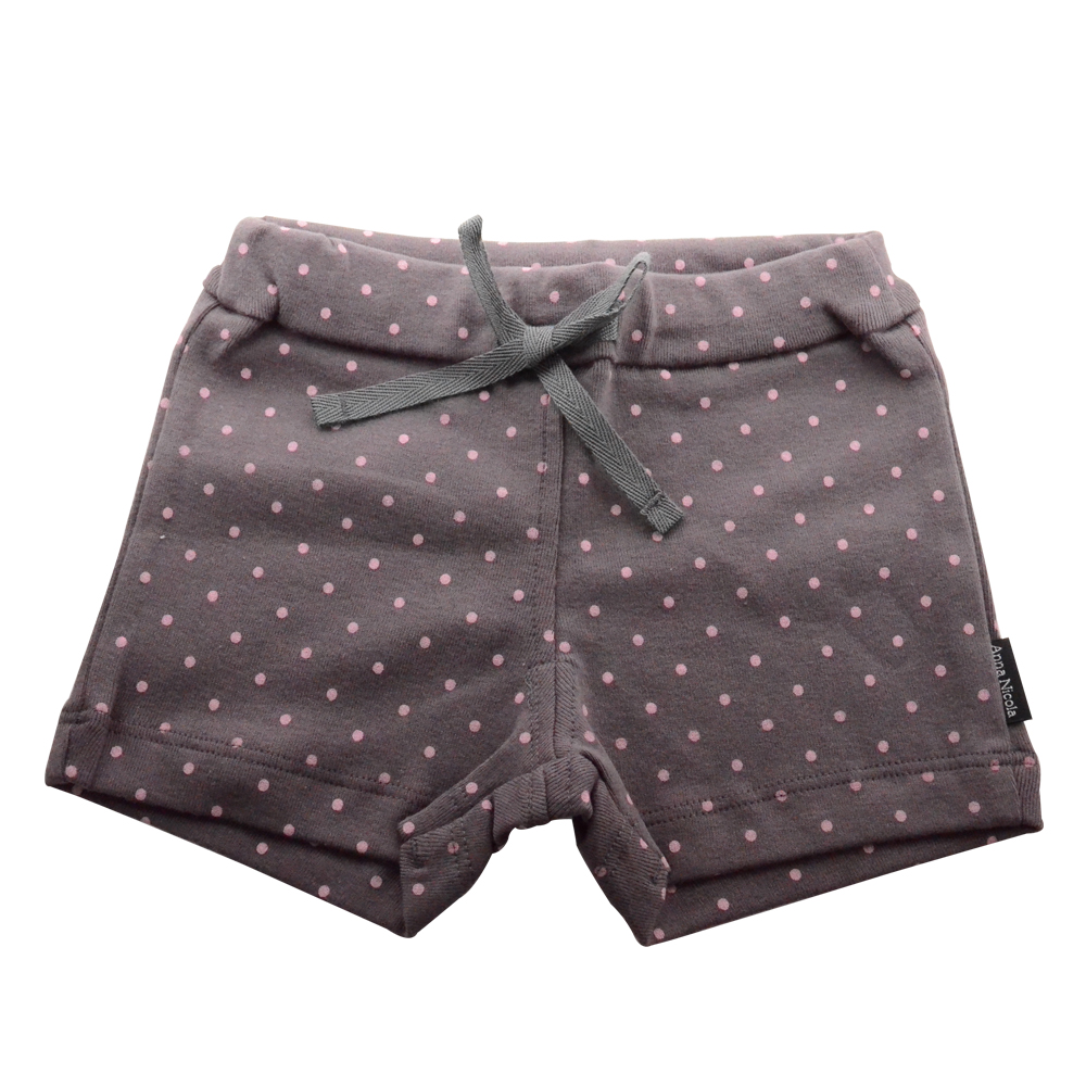 【Anna Nicola】日本製-水玉點點純棉抽繩短褲(灰)