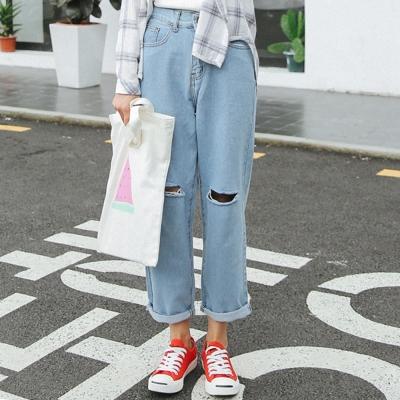 韓系-破洞拉線造型寬版牛仔褲-共三色-91-KOK