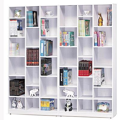 H&D 雪杉白6尺開放書櫥組 (寬181X深30X高182cm)