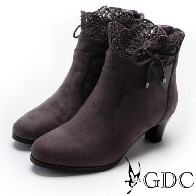 GDC-甜美沉穩蕾絲蝴蝶結低跟布面短靴-槍灰色