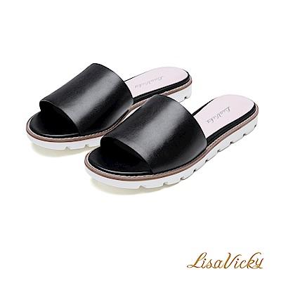 LisaVicky簡約隨興一字寬版平底涼拖鞋-時尚黑