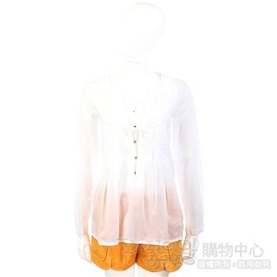 MARELLA-SPORT 白色抓褶設計排釦上衣