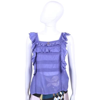 CLASS roberto cavalli 紫色荷葉造型無袖上衣