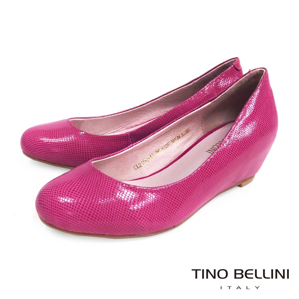 Tino Bellini 經典簡約真皮內增高包鞋_網紋桃紅