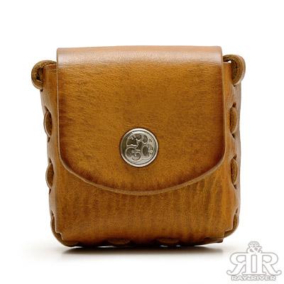 2R-樹羔頭層牛皮Tree手製小方盒-質感黃棕
