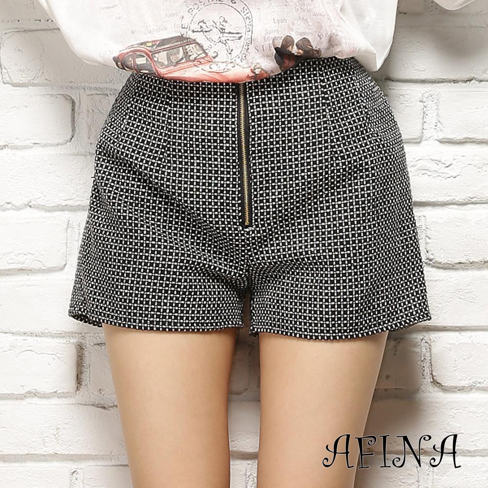 【AFINA】混色復古拉鍊式厚感毛呢短褲-方格