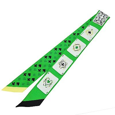 Hermes Jeu de Cartes 撲克牌Twilly 絲巾(綠)