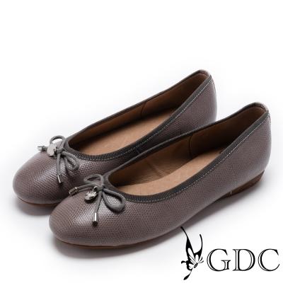 GDC-真皮絕美紋路蝴蝶結平底娃娃鞋-槍灰色