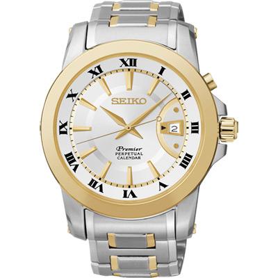 SEIKO Premier 紳士商務萬年曆腕錶(SNQ142J1)-雙色版/41.5mm