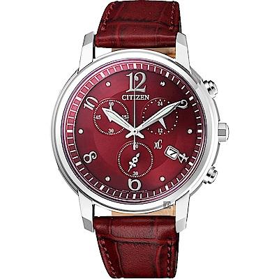 CITIZEN星辰 XC 新年限定光動能計時女錶-紅/37mm