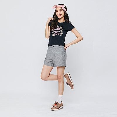 Hang Ten - 女裝 - 直紋棉麻休閒短褲-灰色