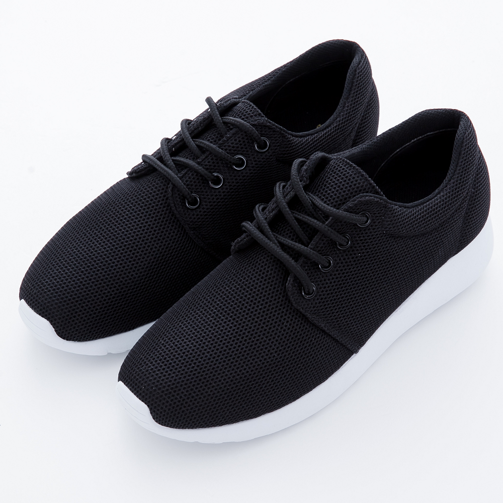 River&Moon休閒鞋-台灣製極簡素面網布繫帶運動鞋-黑系