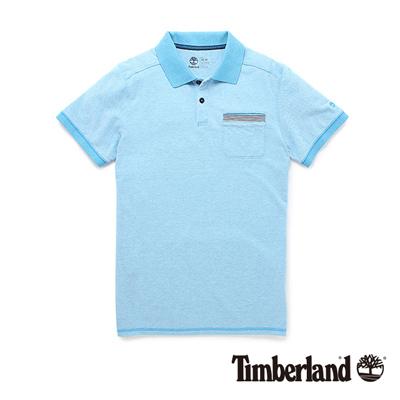 Timberland-男款藍綠色素面短袖Polo衫