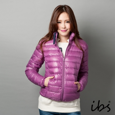 ibs-極輕量純白絨立領羽絨外套-女-紫
