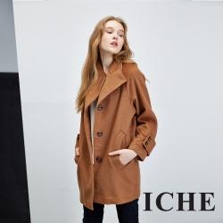ICHE 衣哲 百搭翻領簡約咖啡造型長大衣外套