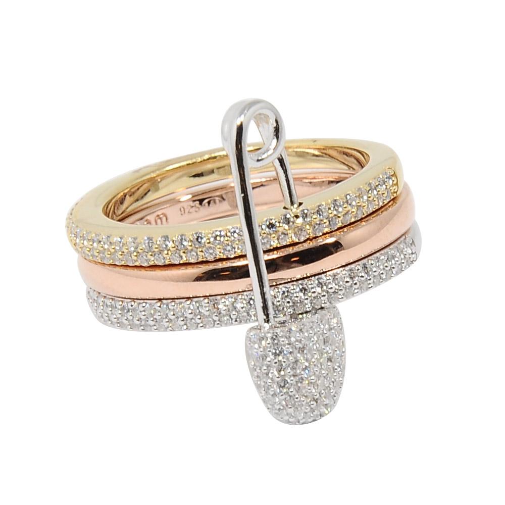 apm MONACO法國精品珠寶 三色圓環別針造型鑲鋯戒指