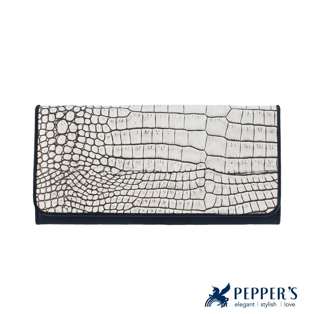 PEPPER`S 牛皮鱷魚紋長皮夾 - 象牙白