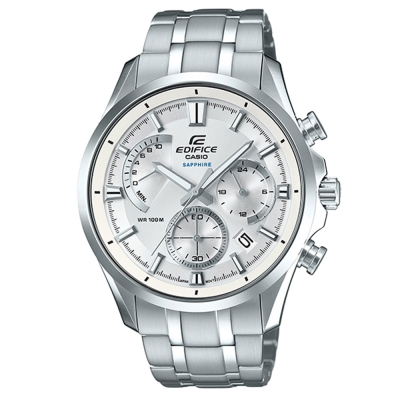EDIFICE經典三眼三針藍寶石鏡面計時腕錶(EFB-550D-7A)-白面/43.5mm