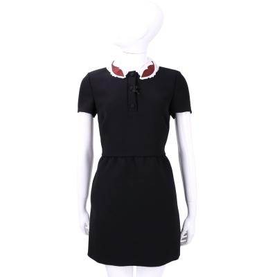RED VALENTINO 黑色葉子造型領飾短袖洋裝