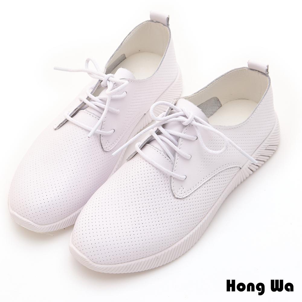 Hong Wa 率性綁帶穿孔牛皮造型休閒鞋 - 白