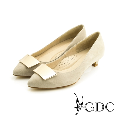 GDC-簡約時尚方形飾扣細格紋真皮尖頭低跟鞋-米灰色
