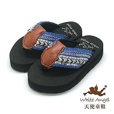 天使童鞋-卡爾蜜雅夾腳親子拖鞋(中-大童)-藍