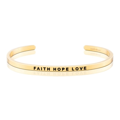 MANTRABAND Faith Hope Love 信心,希望,愛 金色手環