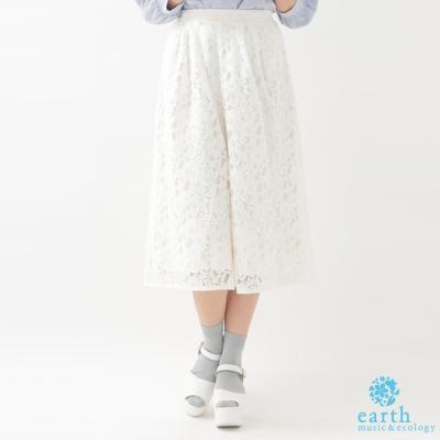 earth music 滿版鏤空蕾絲七分寬褲