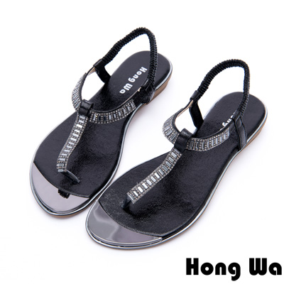 Hong Wa - 網美時尚3D水鑽貼飾休閒涼鞋 - 黑