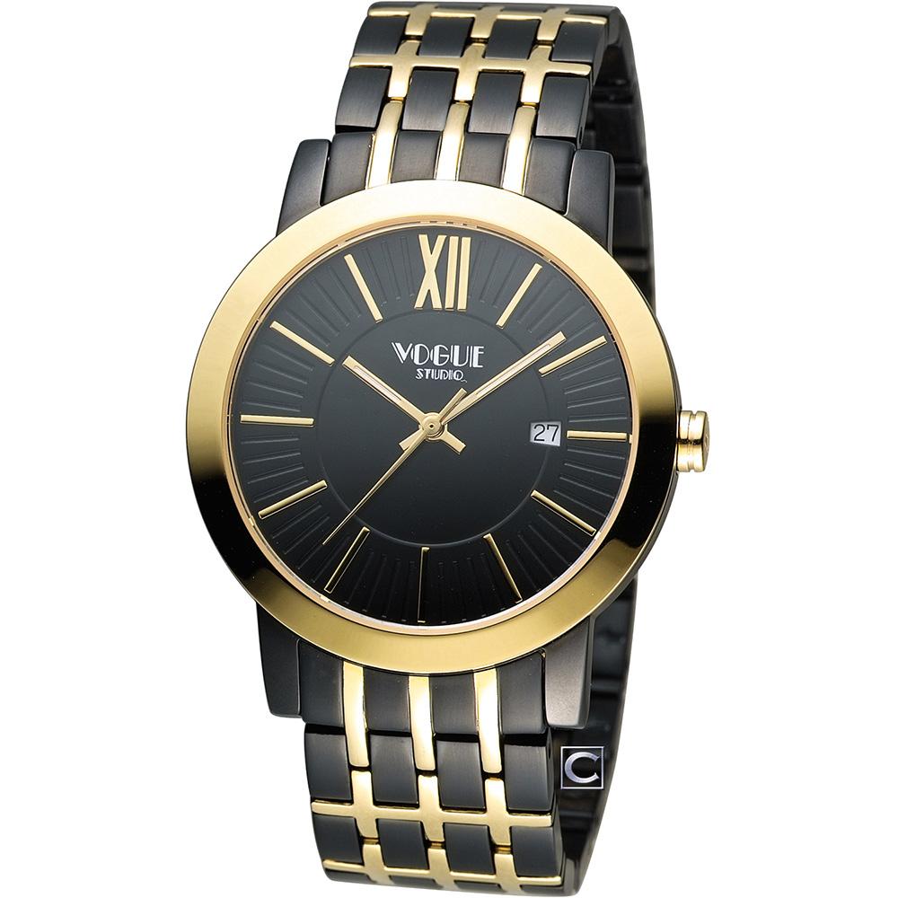 VOGUE 低調簡約時尚腕錶-黑+金/40mm